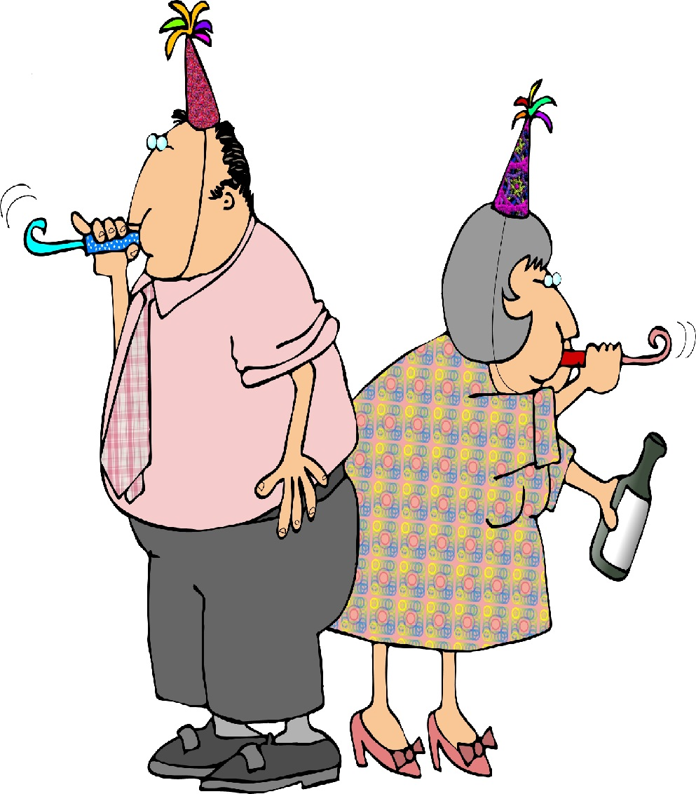 Image of Cartoon Adults with Party Hats
